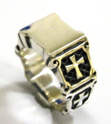 anel templario cruz de malta dupla em prata 925 - ma2165