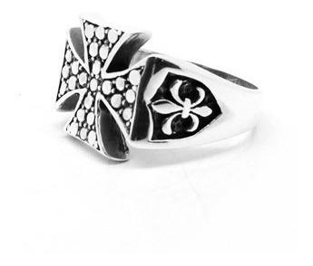 anel templário cruz de malta e flor de lis prata 02722