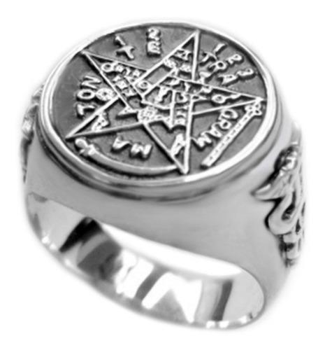 anel tetragrammaton prata maciça 950