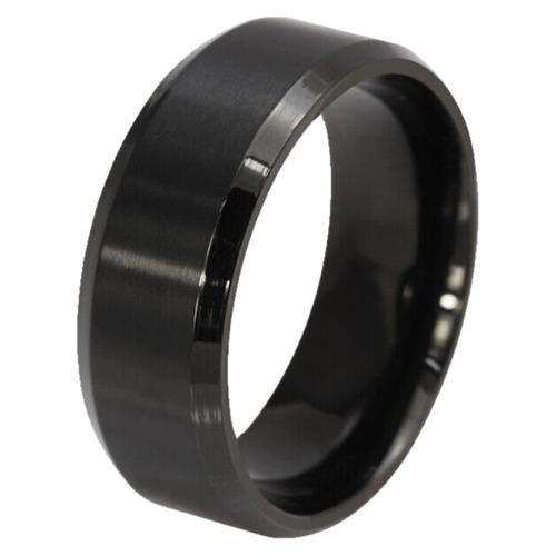 anel titanio preto aliança aço escovado masculino feminino
