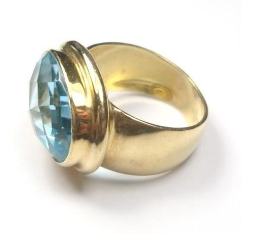 anel topázio natural swiss blue ouro 18k