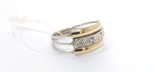 anel triplo de fina prata ouro e pedras noivado e presentes.