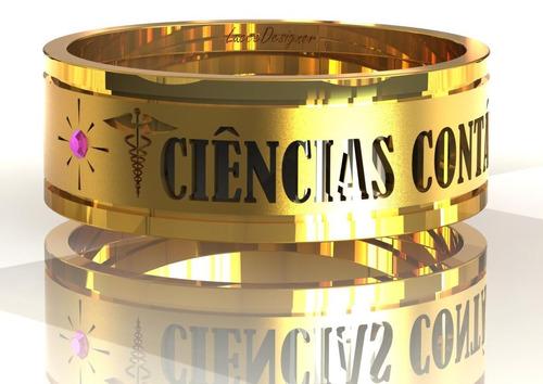 anel unissex ouro 18k ciências contábeis pedras naturais