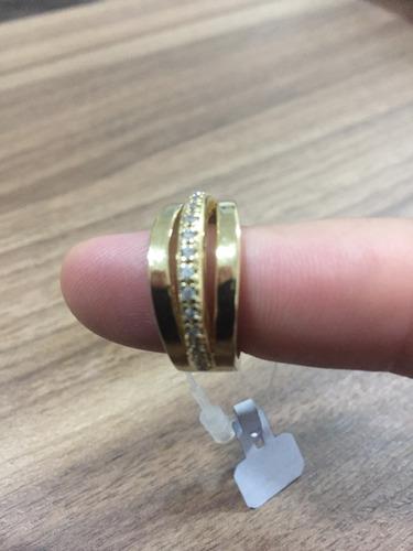 anel vazado com zircônio banhado a ouro 18k promoção rápida