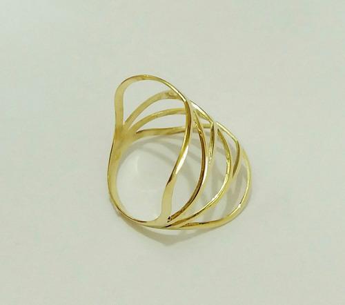 anel vazado de  ouro 18k 750..