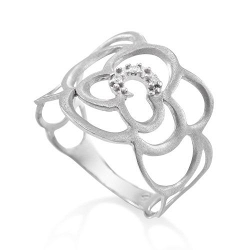 6be04a94ecde3 Anel Vivara Ouro Branco E Diamantes Flor Romantique - R  990,00 em Mercado  Livre