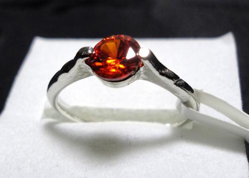 anel zircônia vermelha folhado ouro branco 18k - aro 18