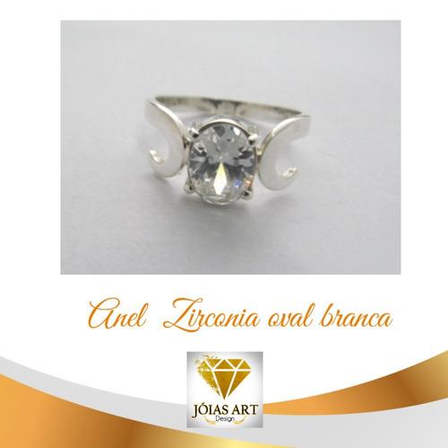 anel zirconia brilhante natural branca oval prata 950 c-59