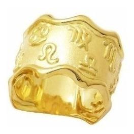 anel zodíaco signos 5 gramas ouro 18k frete grátis