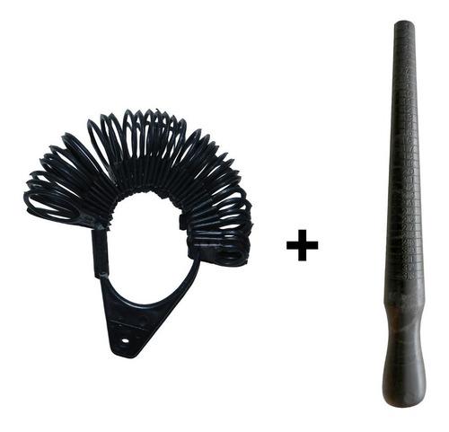 aneleira de dedos aro + medidor de anel bastão pau de medir numeração 01 ao 33 plástico preto
