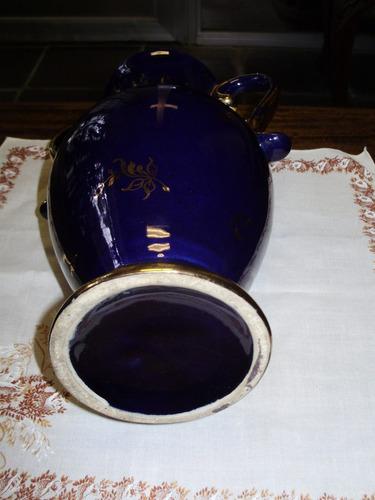 anfora florero jarron azul cobalto oro escena 30 cmts