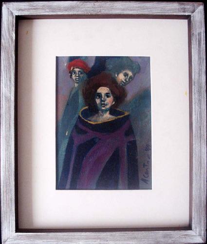 angel cestac - pintura óleo s/ tela assin. 1989 37x31cm