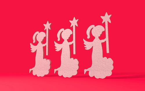 angel con estrella de unicel o nieve seca