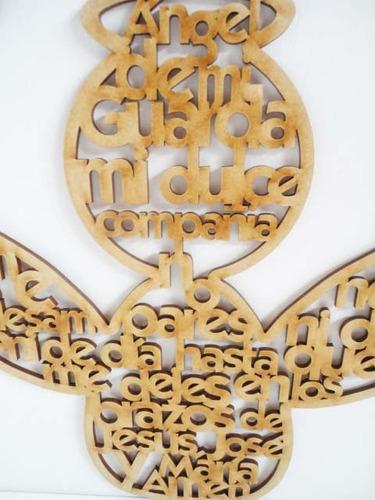angel de 30 cm con oracion angel de la guarda en mdf cruz
