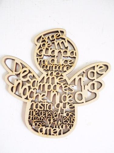 angel de la guarda 10 cm de mdf madera recuerdo bautizo cruz