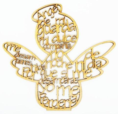 ángel de la guarda mdf de 15cm