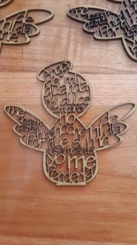 ángel delaguardamdf madera recuerdobautizo15cm