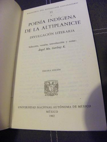 ángel m. garibay kintana, poesía indígena de la altiplanicie