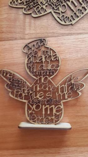ángel   oración mdf madera recuerdo bautizo 10cm