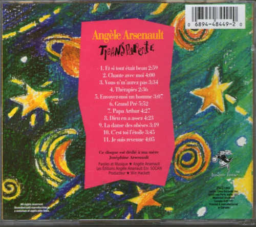 angele arsenault - transparente - cantautora canadiense   cd