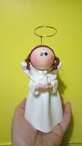 angeles comunión bautismo nena decorado torta porcela fria