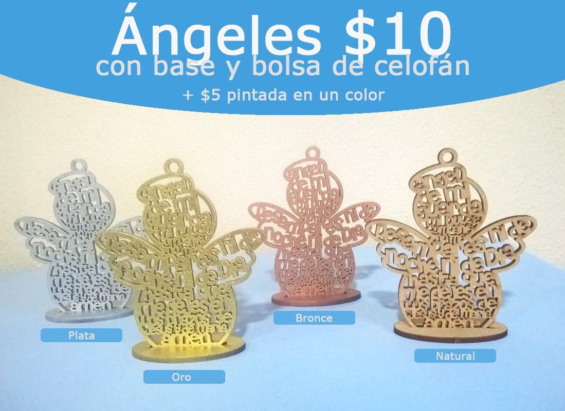 Angelito De La Guarda 10cm 10 Oración Mdf Recuerdo Cruz 1000