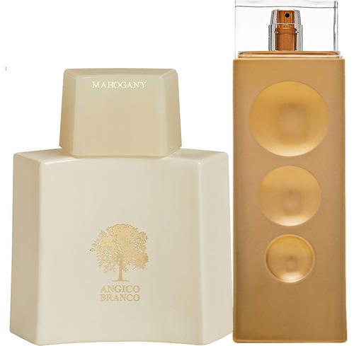 angico branco mahogany perfume + make me fever gold kit/