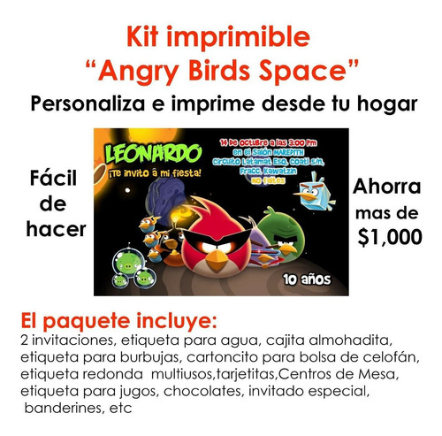 angry birds invitaciones imprimibles +decoración de fiesta