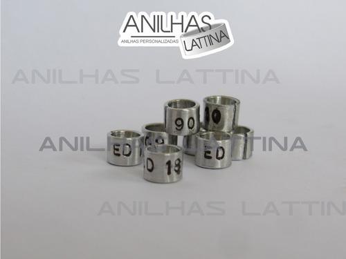 anilha ringneck 7.0 mm alumínio lattina 10 uni personalizada
