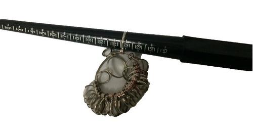 anillero metálico y lastra de plástico medidor de anillos