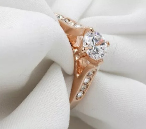 anillo 18 k oro rosa laminado compromiso cristal swarovski
