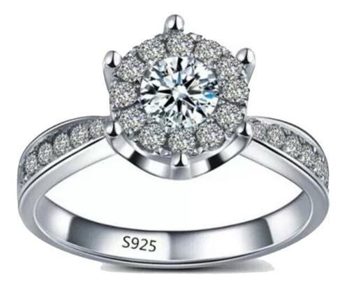 anillo 925 plata esterlina circones + caja mujer compromiso