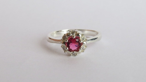 anillo 925 rubí