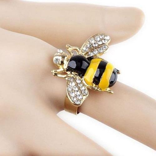 anillo abeja cristales zirconia regalo amor a-091