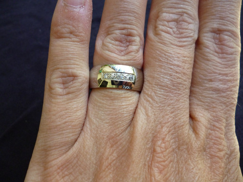 anillo acero brillante ancho con 5 circones talla 7,5