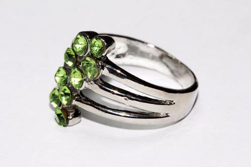 anillo acero dama moda mujer plateado cristal verdes ase216
