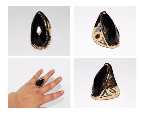 anillo acero dama mujer dorado centro biselado negro ase244