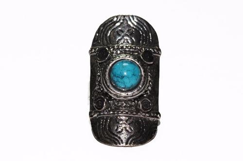anillo acero dama mujer plateado ovalado centro azul ase406