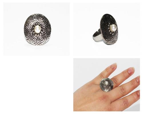 anillo acero dama plateado circular centro blanco ase327