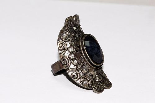 anillo acero dama plateado grabados  cuenta gris ase300