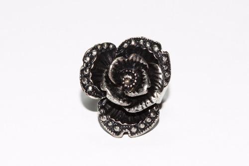 anillo acero dama vintage mujer plateado flor ase334