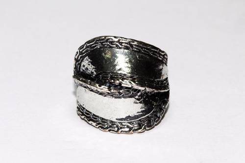 anillo acero dama vintage mujer plateado grabados  ase309