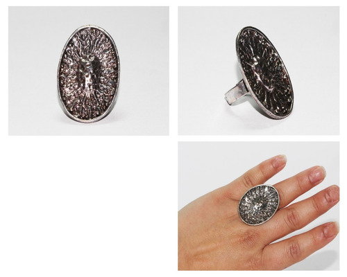 anillo acero dama vintage mujer plateado ovalado ase333