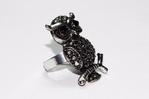 anillo acero dama vintage plateado búho con grabados ase391