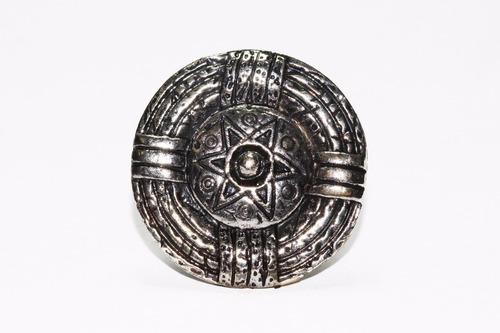 anillo acero dama vintage plateado circular  estrella ase410