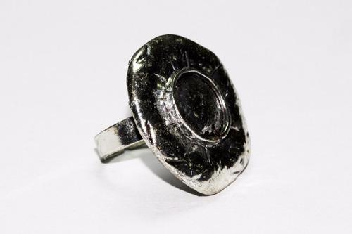 anillo acero dama vintage  plateado circular grabados ase405