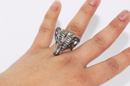 anillo acero dama vintage plateado elefante  ase376