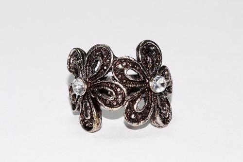 anillo acero  dama vintage plateado flores ase346