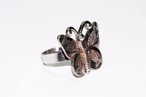 anillo acero  dama vintage plateado mariposa ase347