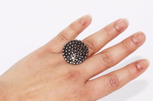 anillo acero dama vintage plateado puntas  ase339